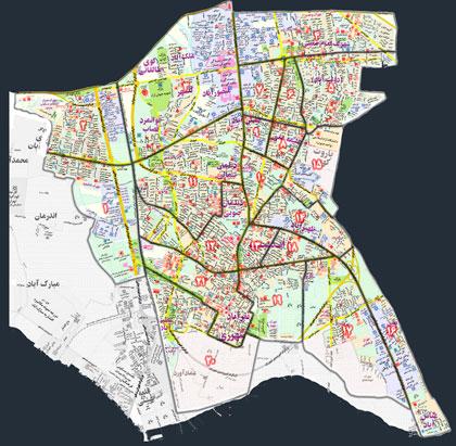 نقشه کامل منطقه 20 شهرداری تهران